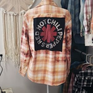 Red hot chili peppers upcycled flannel x large